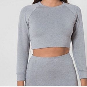 American Apparel NWOT Gray Ponte Knit Cropped Top